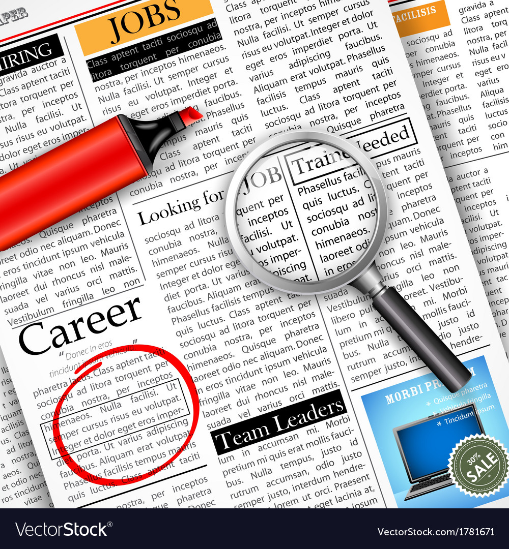 Job search in newspaper vector | Price: 1 Credit (USD $1)