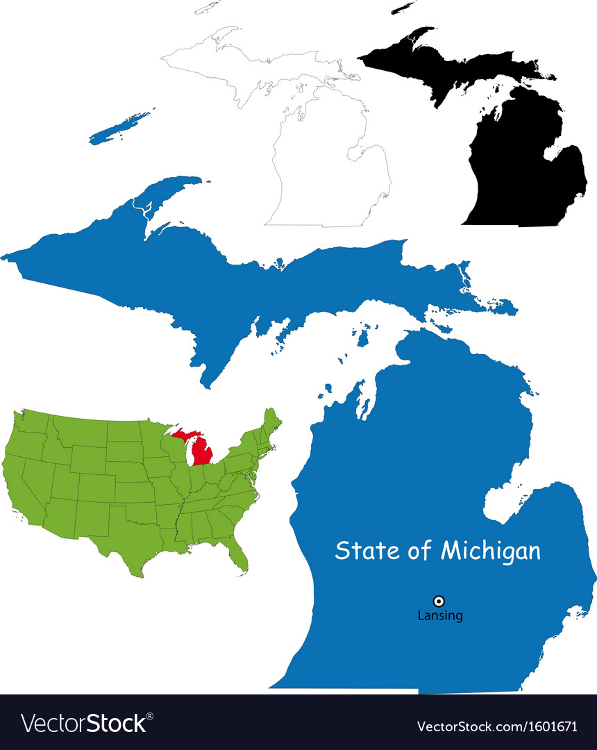 Michigan map vector | Price: 1 Credit (USD $1)
