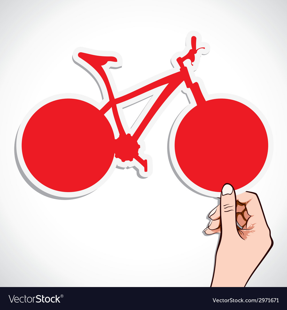 Red bicycle sticker in hand vector | Price: 1 Credit (USD $1)