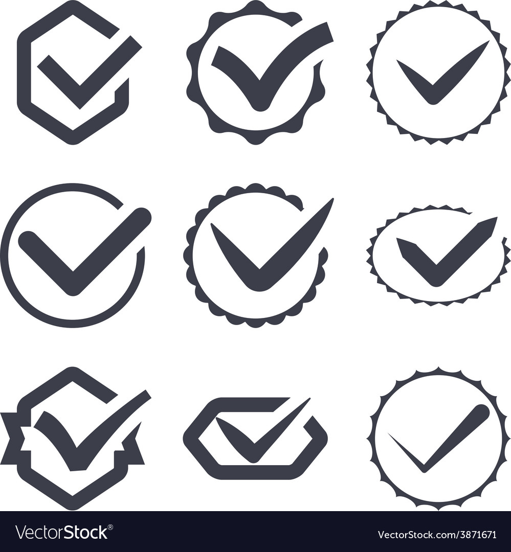 Set of nine different check marks vector | Price: 1 Credit (USD $1)