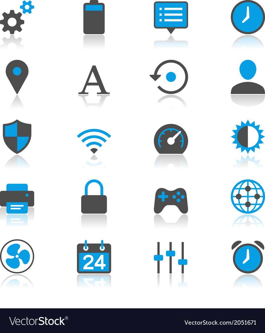 Setting flat with reflection icons vector | Price: 1 Credit (USD $1)