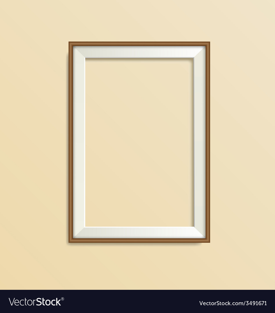 Wooden frame isolated on beige vector | Price: 1 Credit (USD $1)