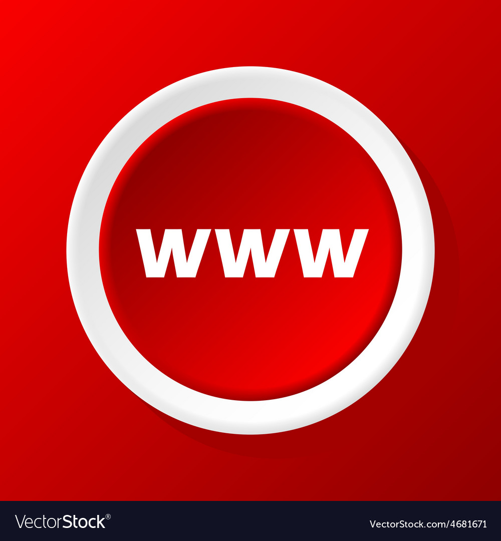 Www icon on red vector | Price: 1 Credit (USD $1)