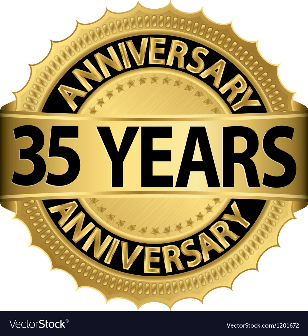 35 years anniversary golden label with ribbon vector | Price: 1 Credit (USD $1)
