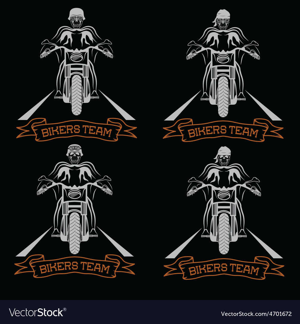 Biker theme labels with motorbike and skull vector | Price: 1 Credit (USD $1)