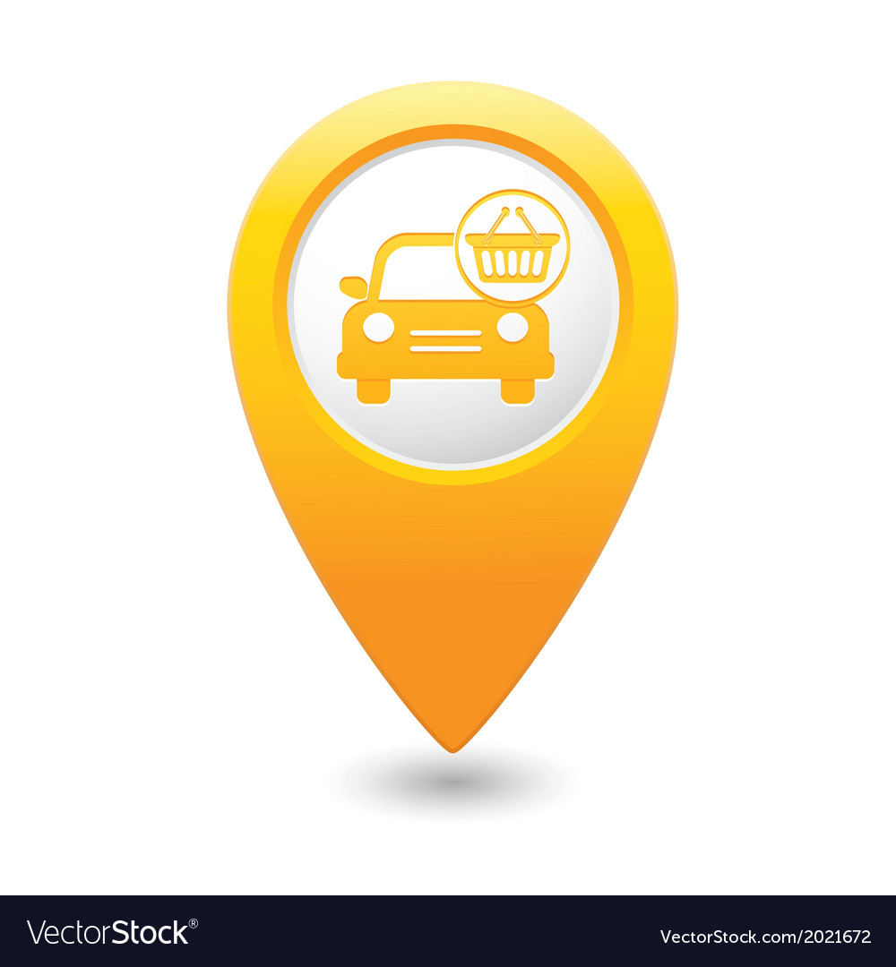 Car with shop basket icon pointer yellow vector | Price: 1 Credit (USD $1)