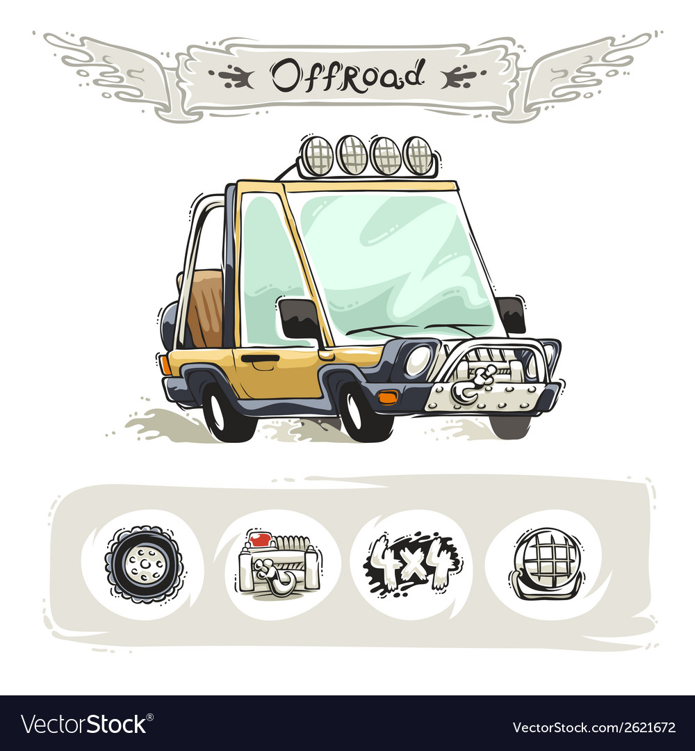 Cartoon beach suv set vector | Price: 1 Credit (USD $1)