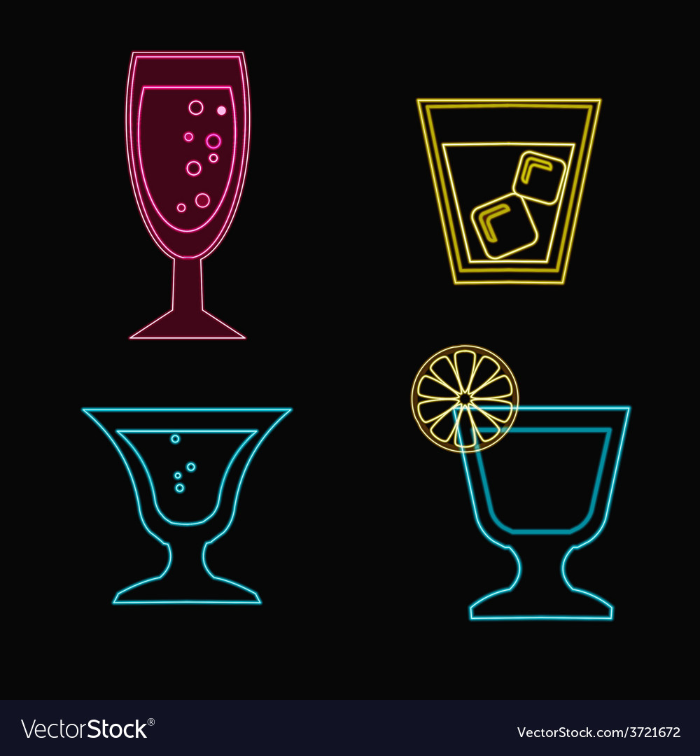 Cocktails set neon cocktail glasses vector | Price: 1 Credit (USD $1)