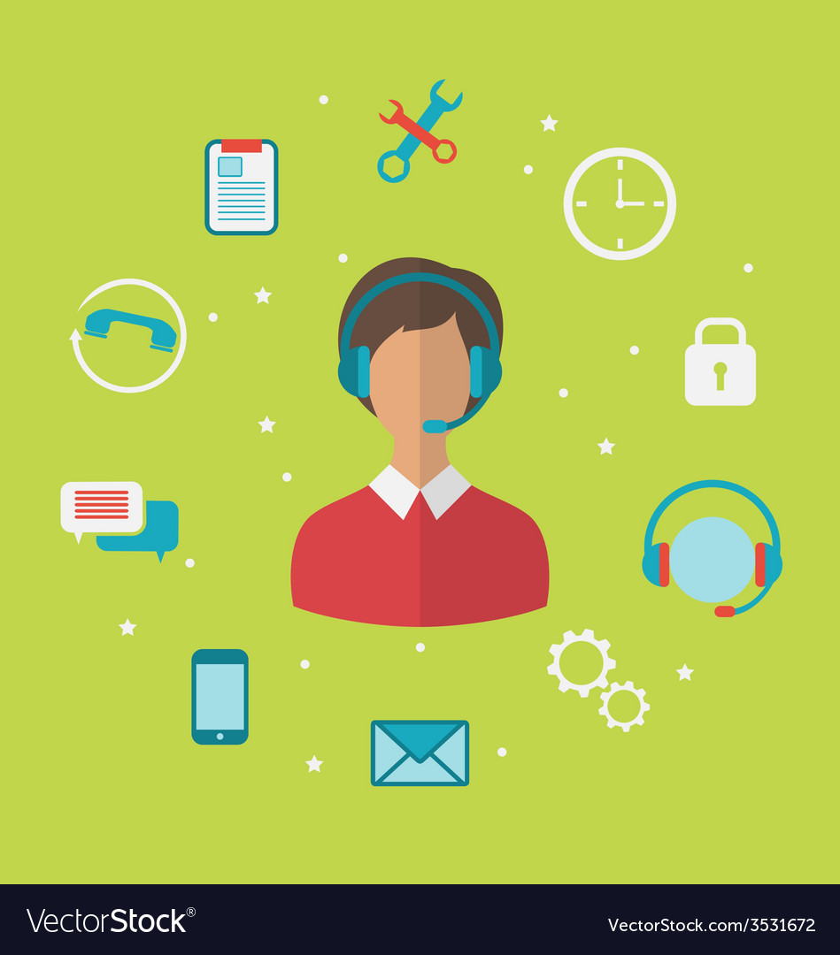Concept of call center with operator woman in vector   Price: 1 Credit (USD $1)