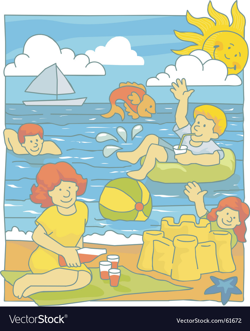 Family at beach vector | Price: 1 Credit (USD $1)