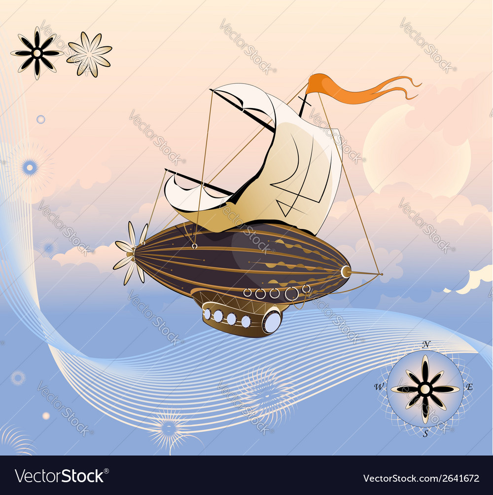 Flying ship vector | Price: 1 Credit (USD $1)