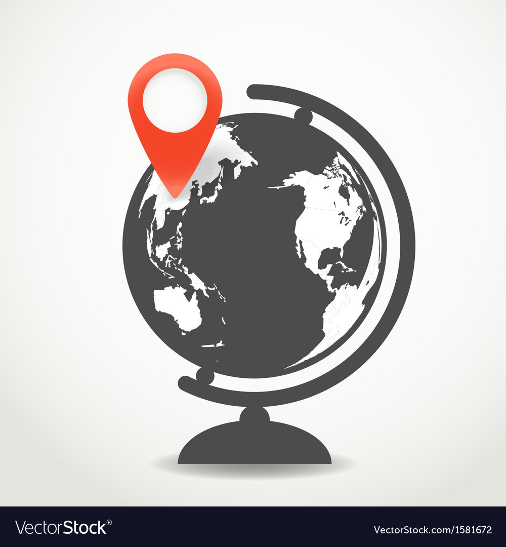 Globe with the point of destination vector | Price: 1 Credit (USD $1)