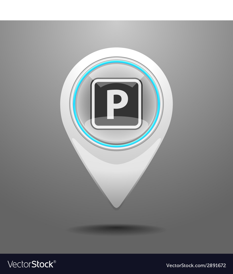 Glossy parking icon vector | Price: 1 Credit (USD $1)