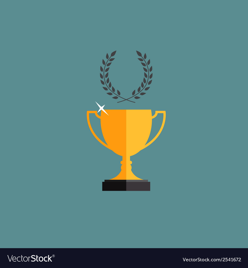 Gold trophy cup winner with a laurel wreath vector | Price: 1 Credit (USD $1)