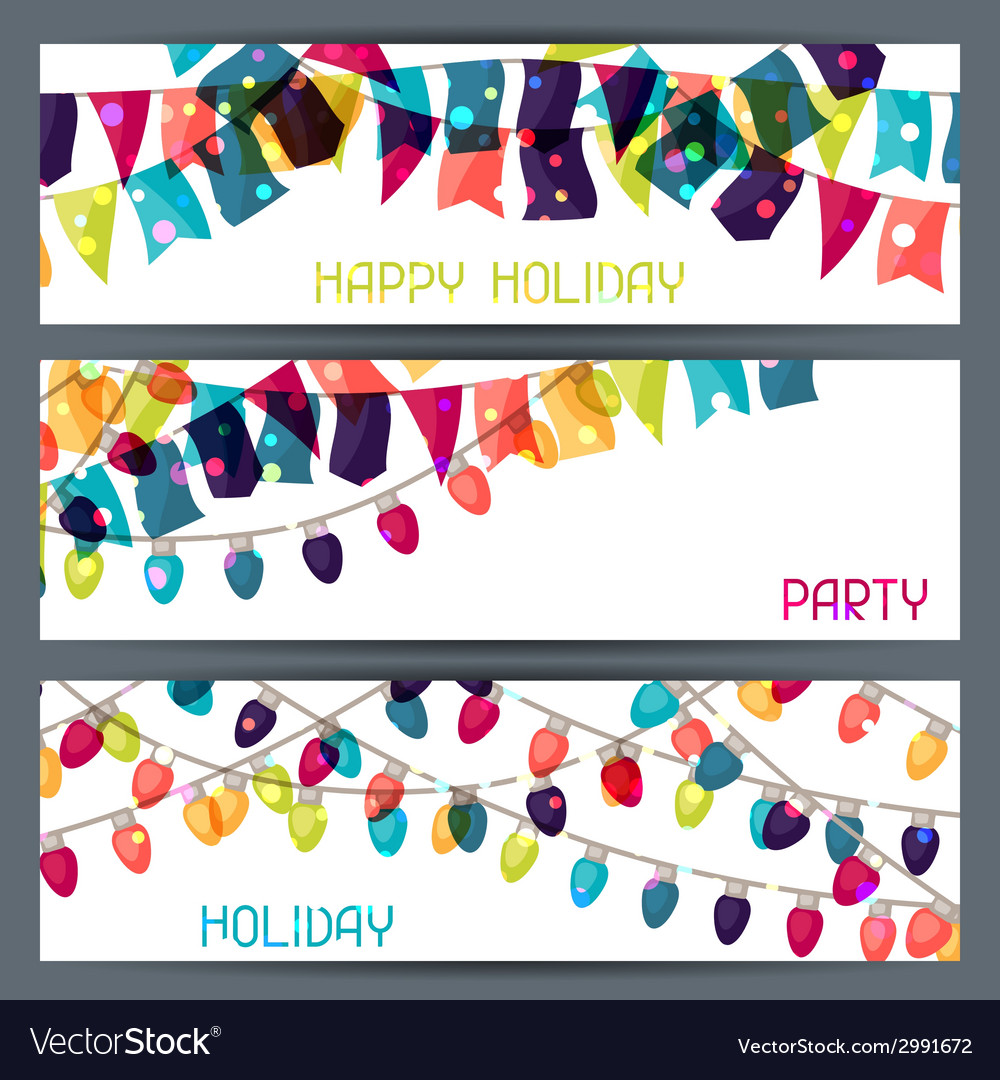 Holiday colorful horizontal banners with flags and vector | Price: 1 Credit (USD $1)