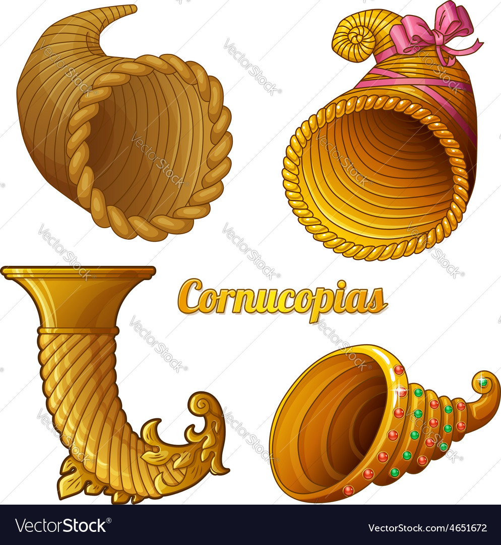Horns of plenty isolated on white background vector | Price: 1 Credit (USD $1)