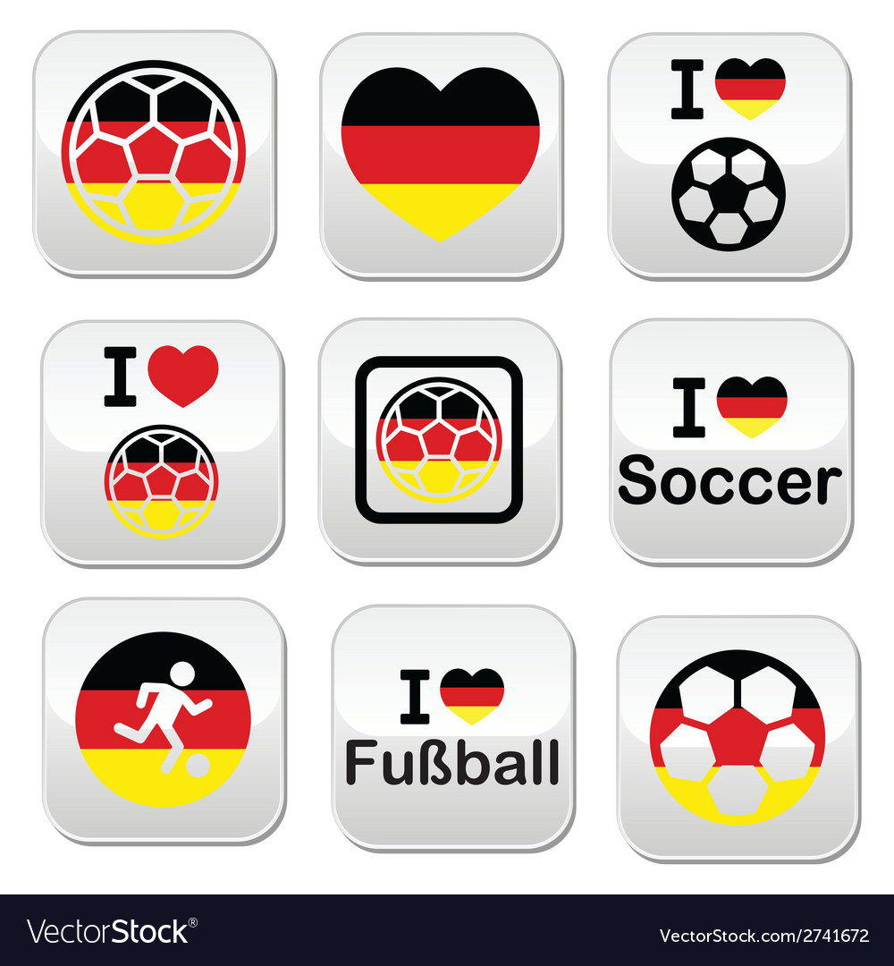 I love german football soccer buttons set vector | Price: 1 Credit (USD $1)