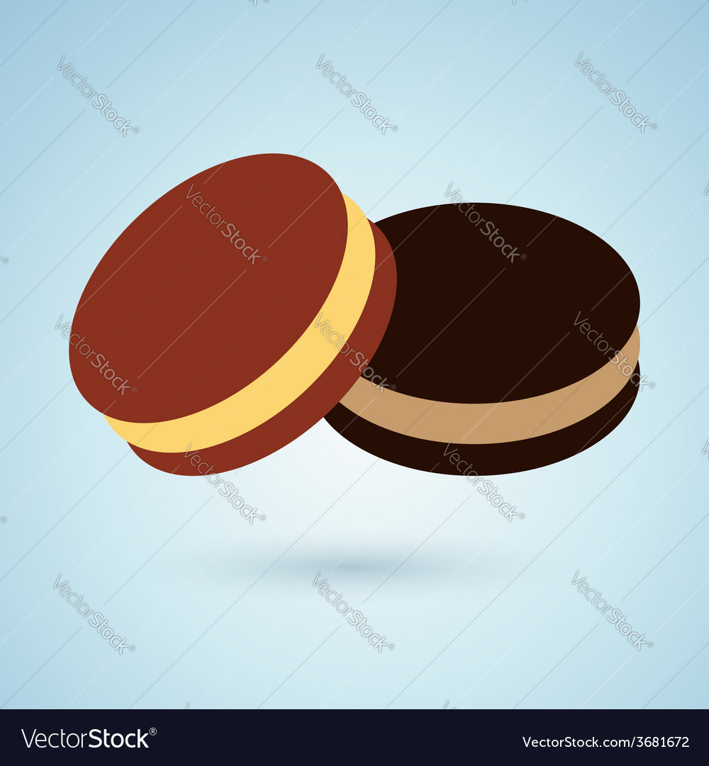 Icon of chocolate cookies with cream filling vector | Price: 1 Credit (USD $1)