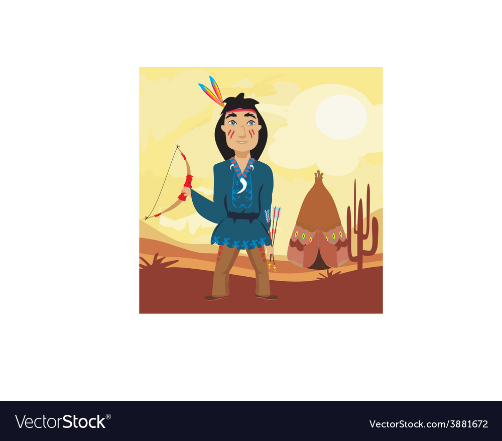 Indian holding a bow and arrows vector | Price: 1 Credit (USD $1)