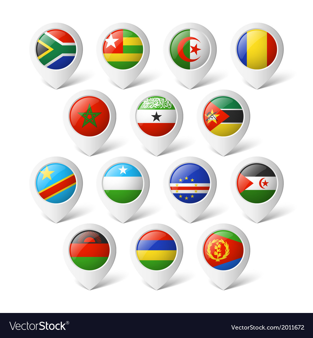 Map pointers with flags africa vector | Price: 1 Credit (USD $1)