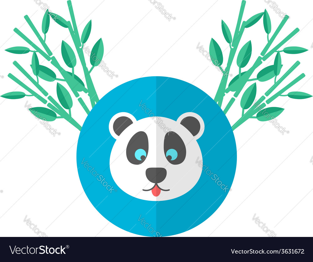 Panda and bamboo in flat style vector | Price: 1 Credit (USD $1)