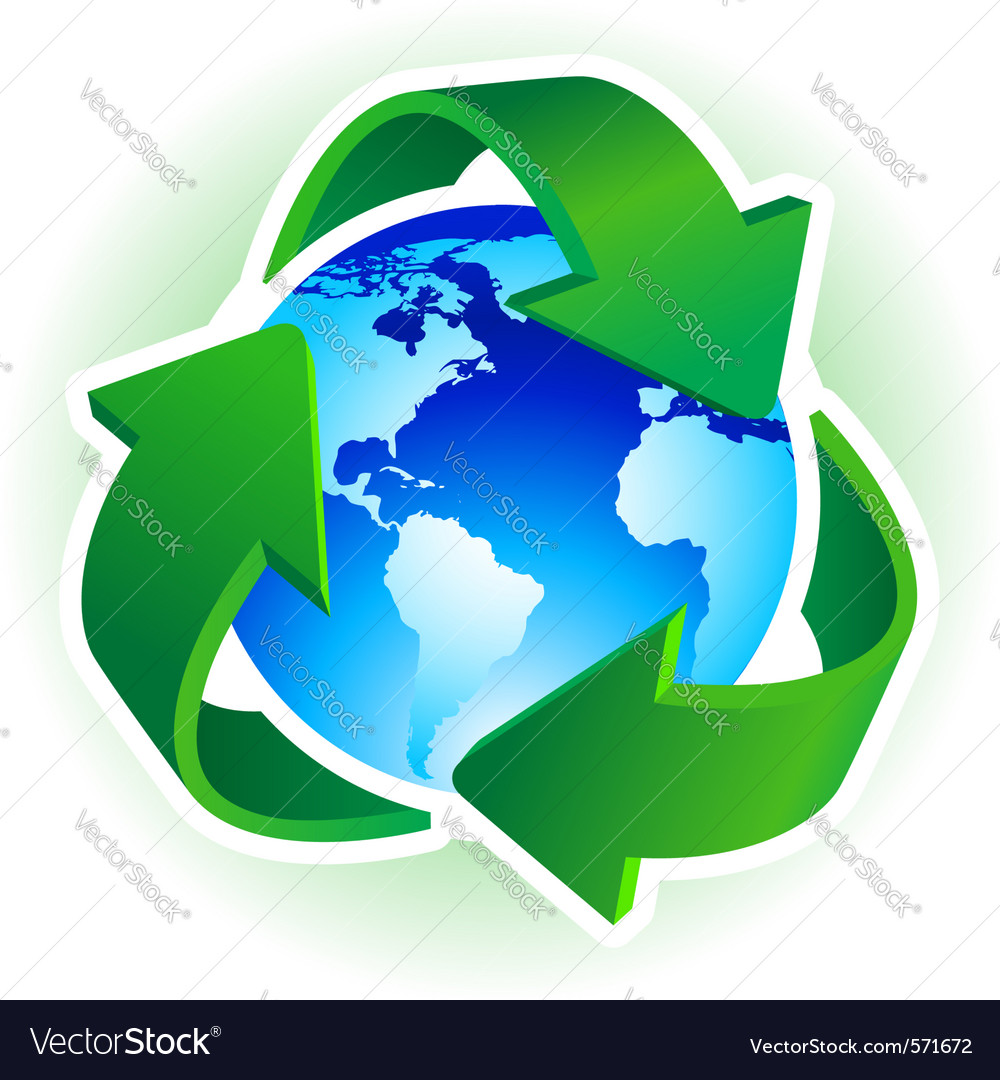 Recycle symbol with blue earth on white background vector | Price: 1 Credit (USD $1)