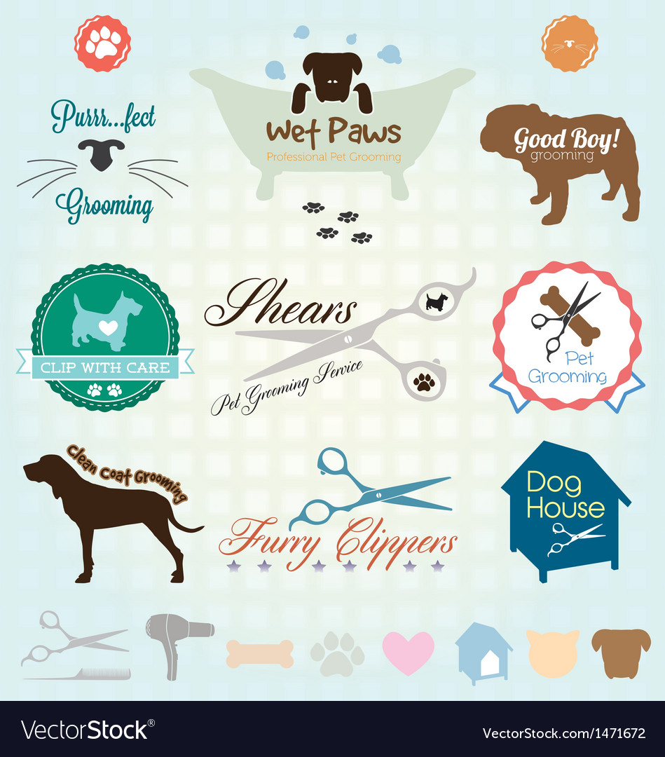 Retro pet grooming labels and icons vector | Price: 1 Credit (USD $1)