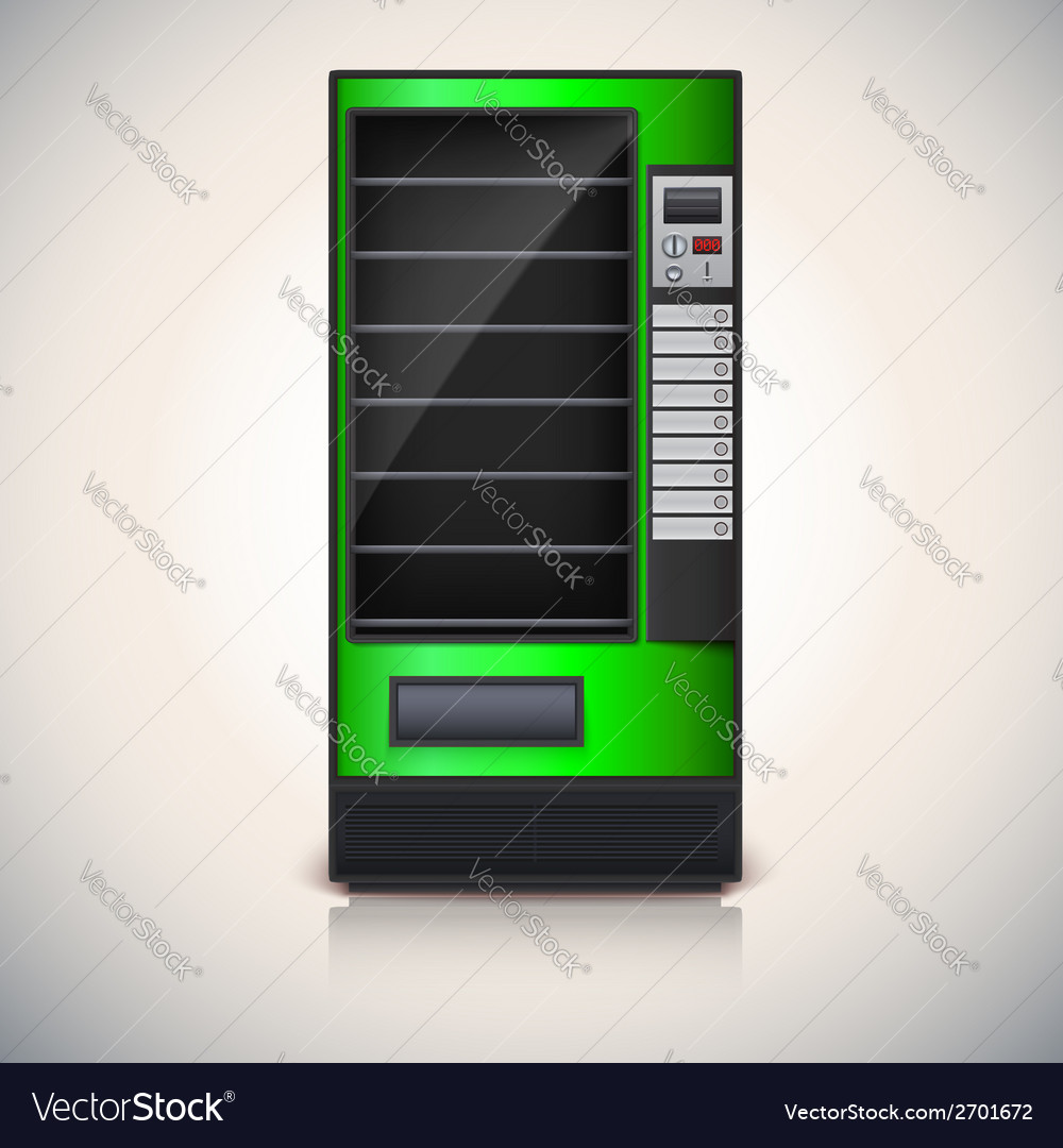 Vending machine with shelves green coloor vector | Price: 1 Credit (USD $1)