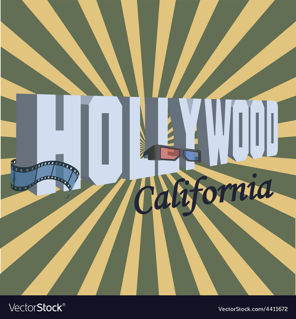Vintage touristic greeting card - hollywood vector | Price: 1 Credit (USD $1)