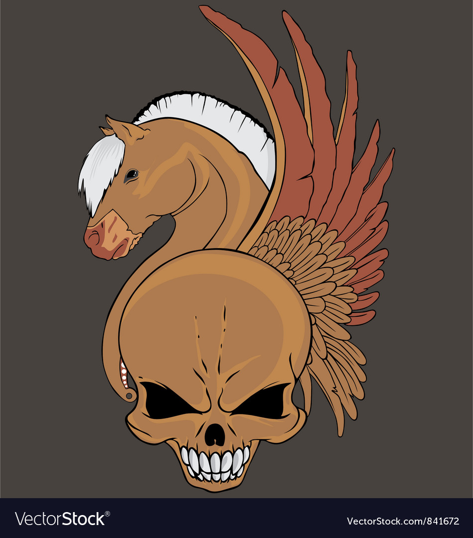 Wing horse skull vector | Price: 1 Credit (USD $1)
