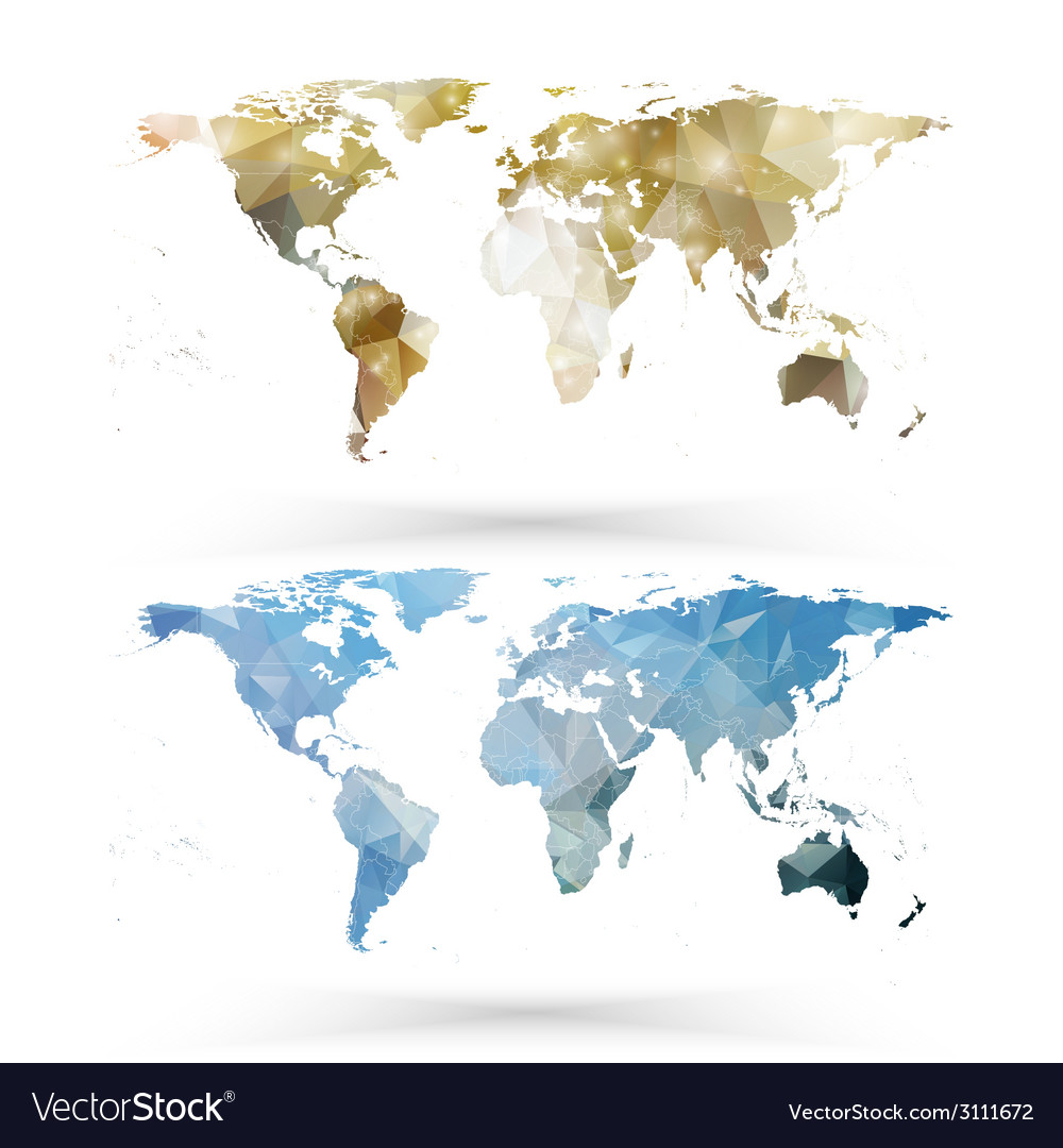 World map template triangle design vector | Price: 1 Credit (USD $1)