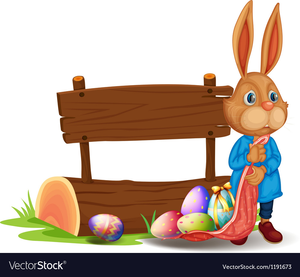 A bunny near a wooden signboard with eggs vector | Price: 1 Credit (USD $1)