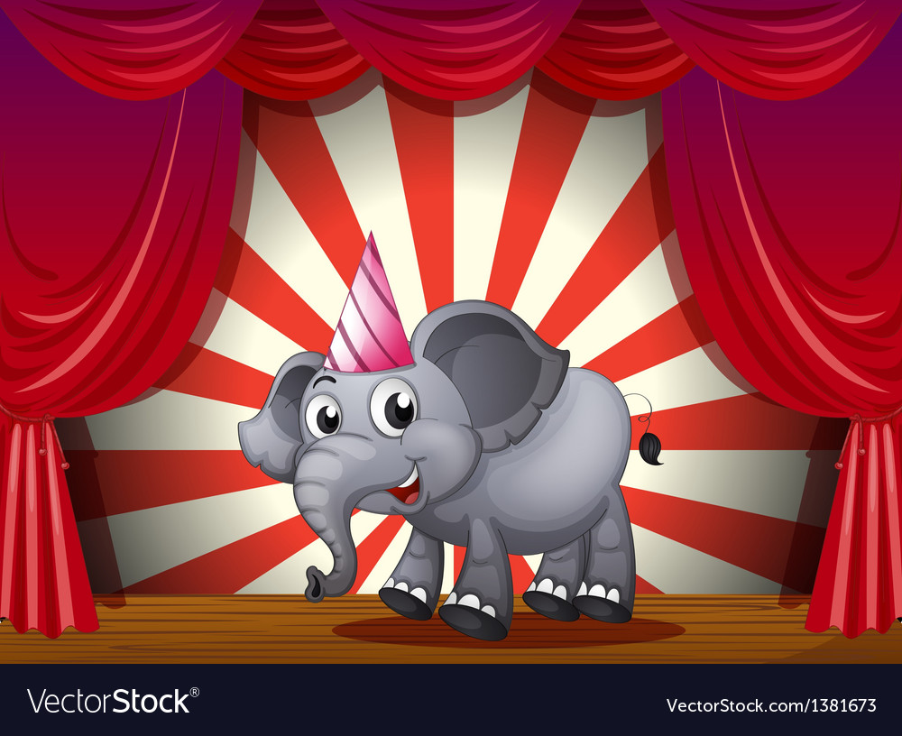 An elephant wearing a party hat at the stage vector | Price: 1 Credit (USD $1)