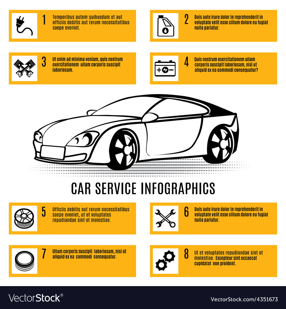 Car service infographics vector | Price: 1 Credit (USD $1)