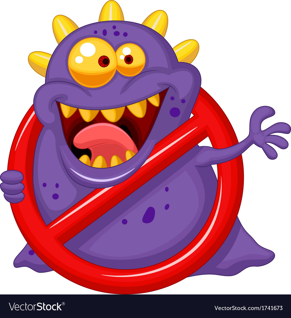 Cartoon stop virus - purple virus in red alert sig vector | Price: 3 Credit (USD $3)
