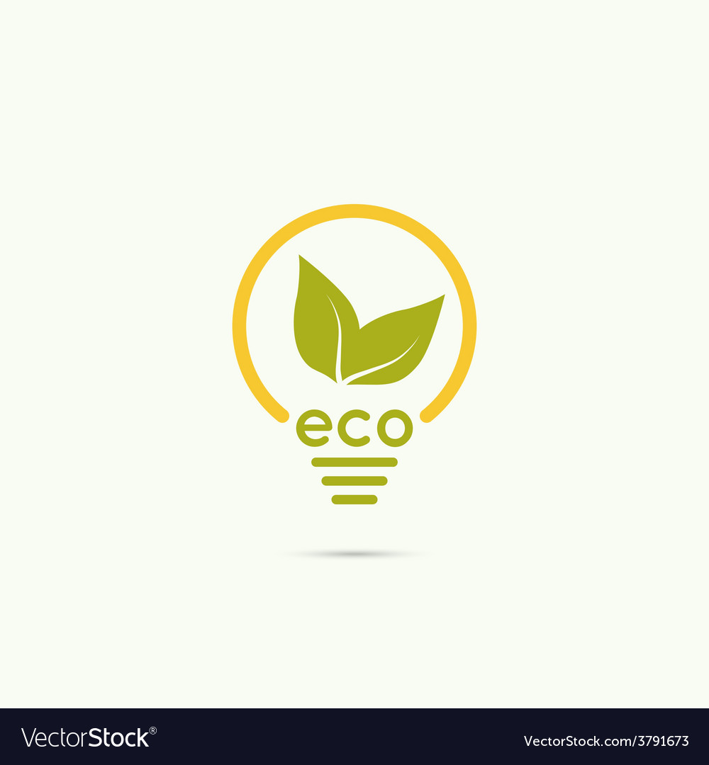 Electric lamp with green leaves vector | Price: 1 Credit (USD $1)