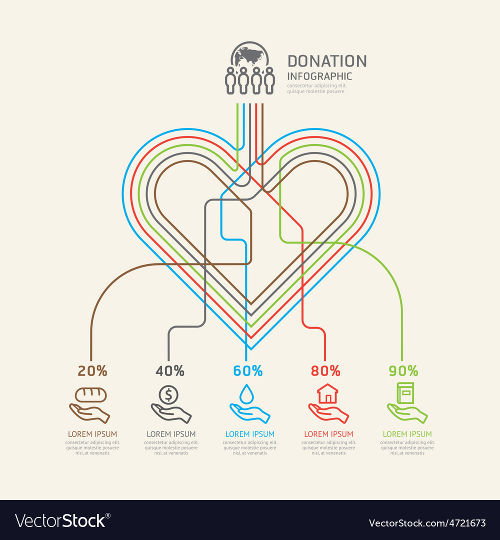Flat linear infographic charity and donation outli vector | Price: 1 Credit (USD $1)