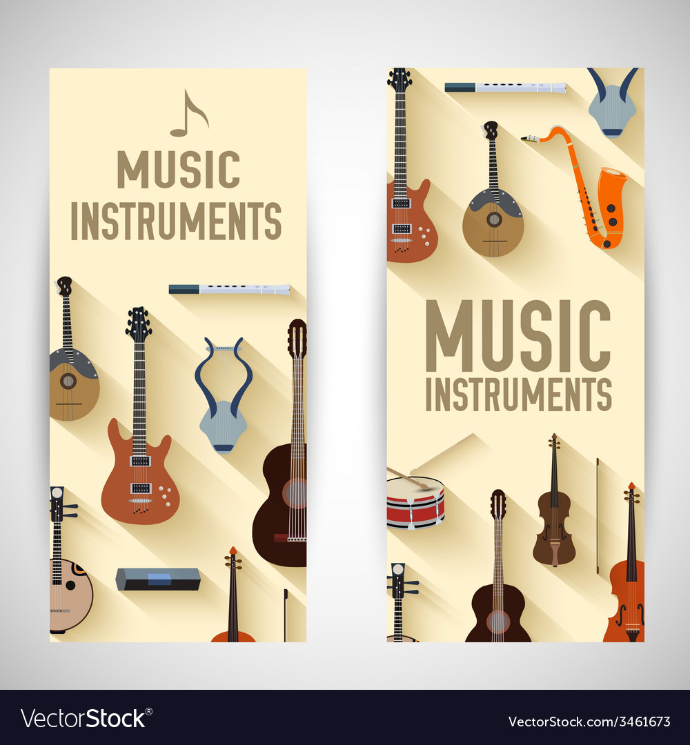 Flat music instruments banners concept desig vector | Price: 1 Credit (USD $1)