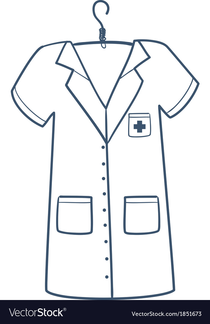Nurse or doctor uniform isolated on white vector | Price: 1 Credit (USD $1)