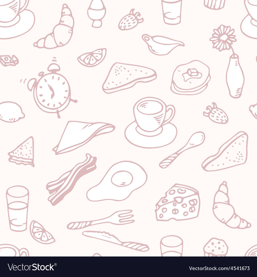 Outline hand drawn breakfast seamless pattern vector | Price: 1 Credit (USD $1)