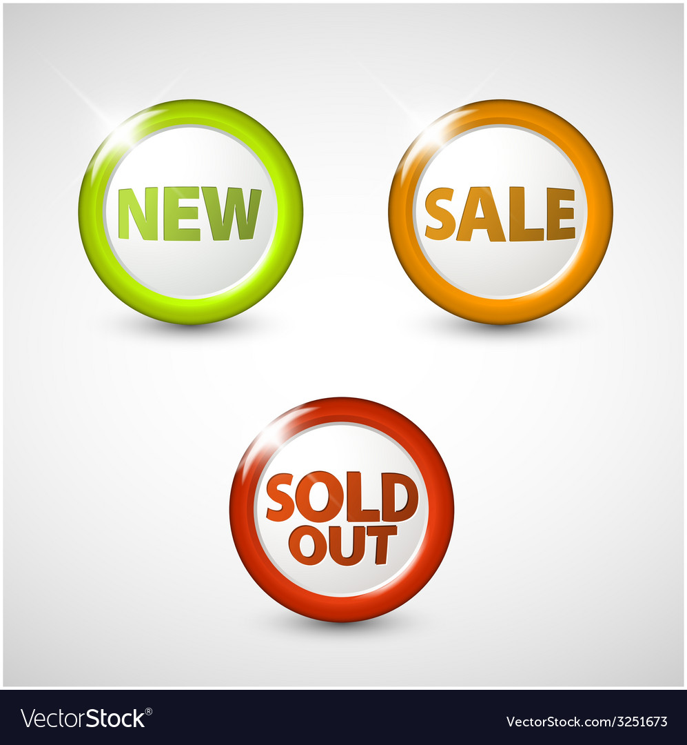 Round 3d icons for sale new and sold out items vector | Price: 1 Credit (USD $1)