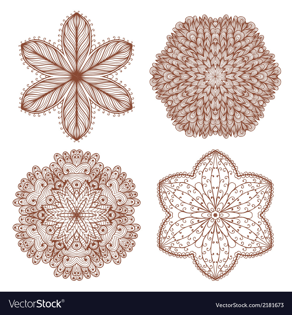 Set of four hand drawn ornaments vector | Price: 1 Credit (USD $1)