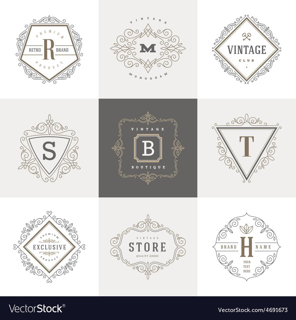 Set of monogram flourishes logo vector | Price: 1 Credit (USD $1)