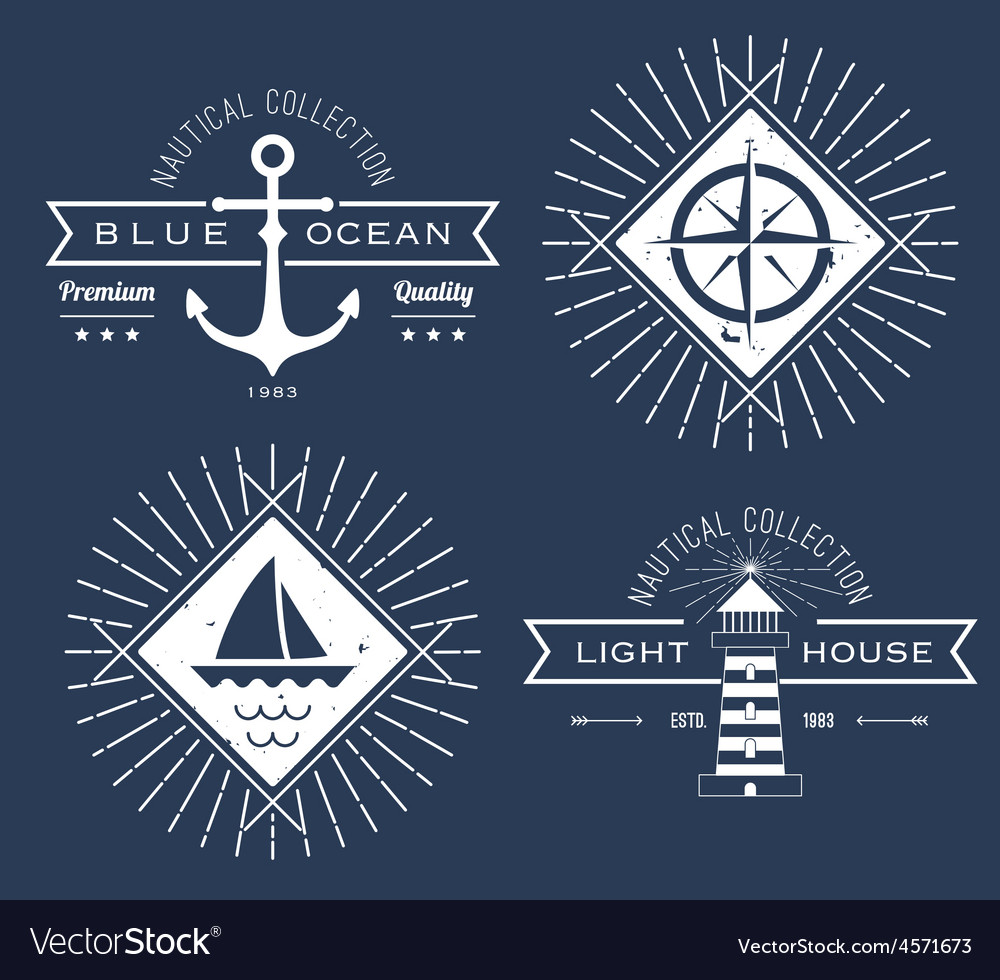 Set of nautical logos badges and labels on vector   Price: 1 Credit (USD $1)