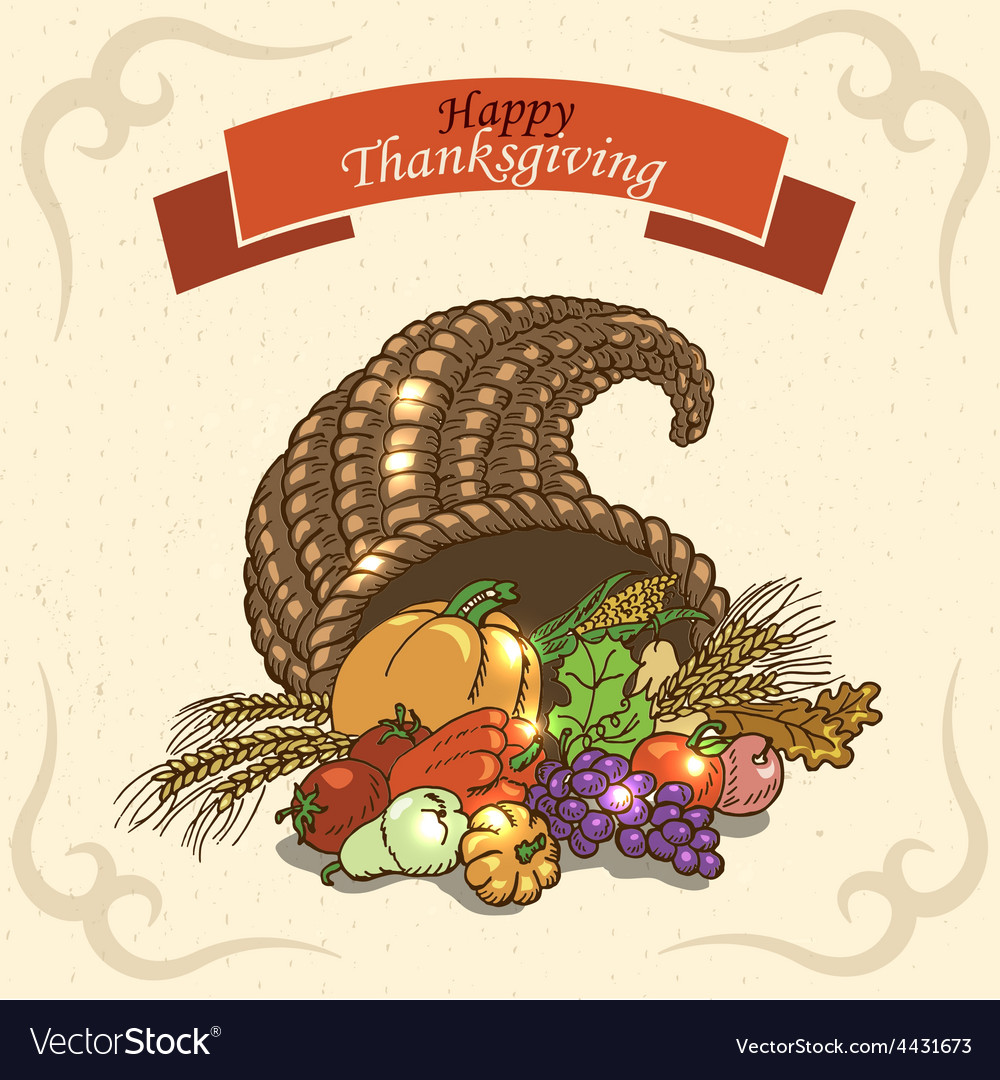 Thanksgiving day greeting card on paper background vector | Price: 1 Credit (USD $1)
