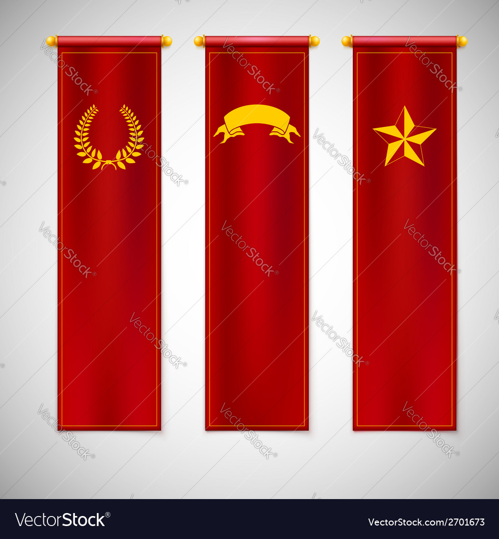 Vertical red flags with emblems vector | Price: 1 Credit (USD $1)