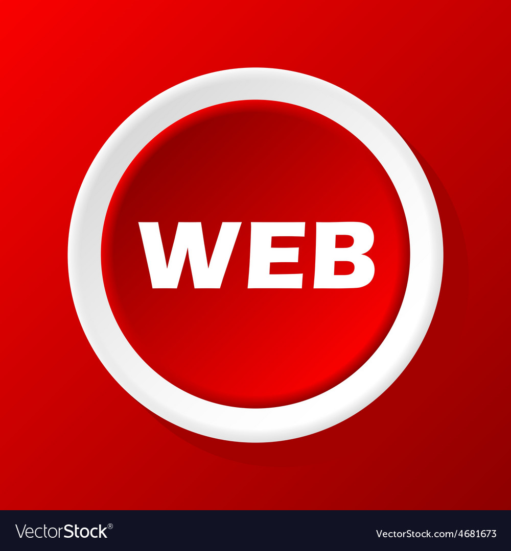 Web icon on red vector | Price: 1 Credit (USD $1)