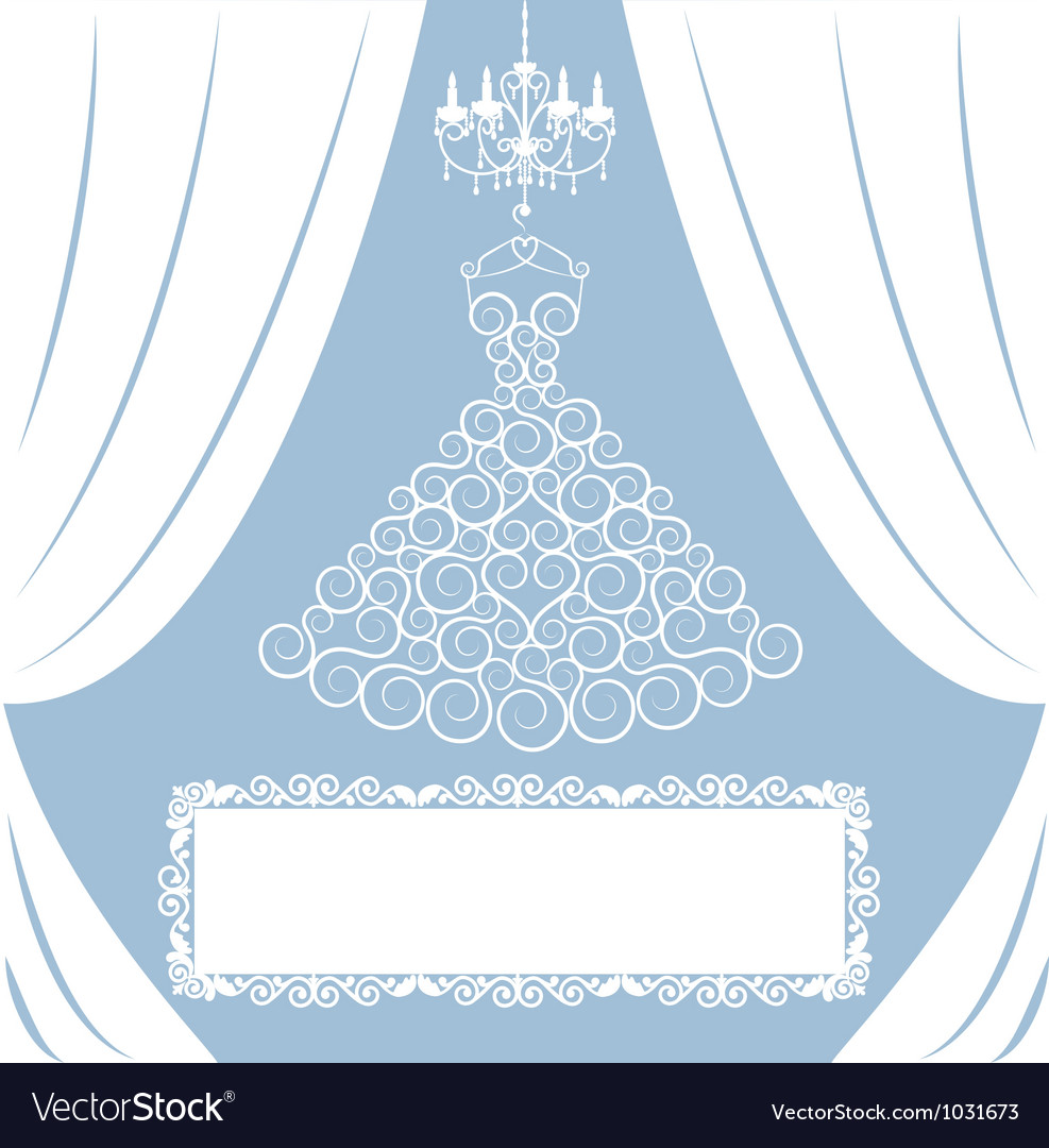 Wedding card with curly dress vector