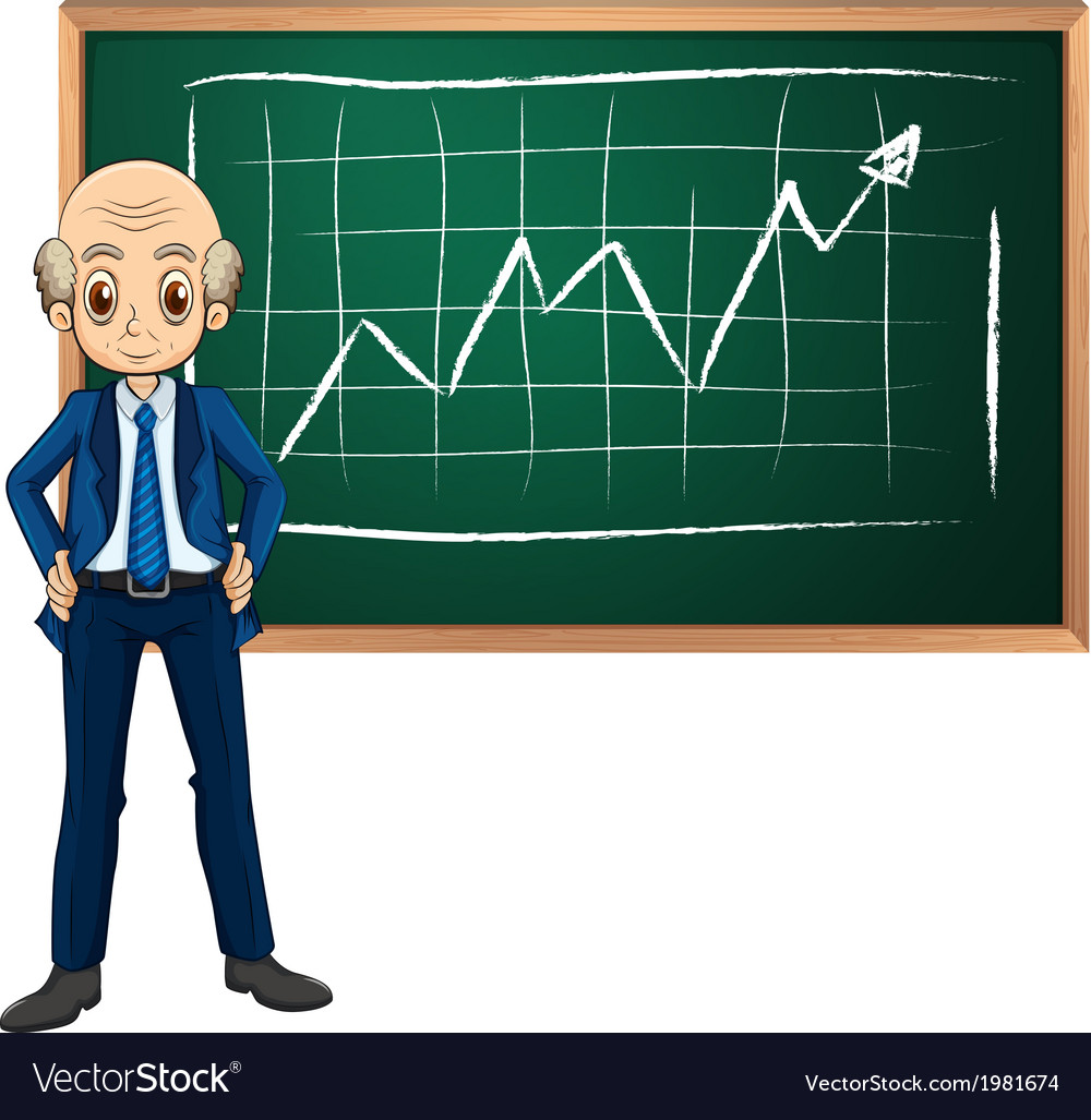 An old businessman in front of the blackboard vector | Price: 1 Credit (USD $1)