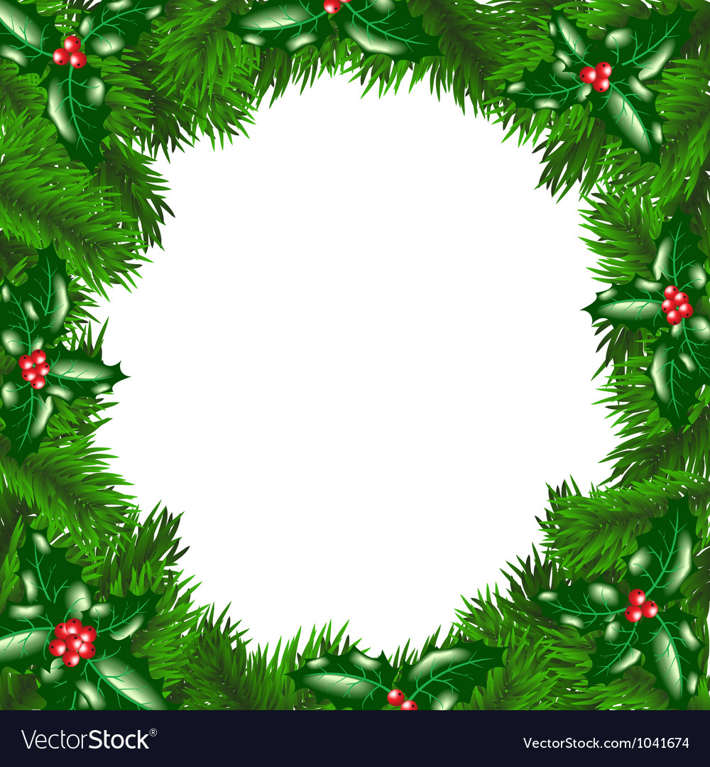 Christmas tree frame with holly berry vector | Price: 1 Credit (USD $1)